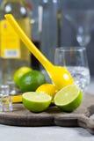 Kalka manuell press för förberedelse av coctailar, limefrukter och exponeringsglas Arkivbilder