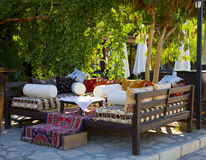 Kalkan Harbor cafe. Sofas outside a harbour side cafe in Kalkan, Turkey Royalty Free Stock Photo
