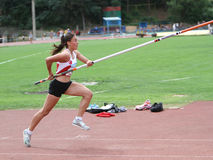 Kalkan Hilal from Turkey competes in pole vault Royalty Free Stock Photo