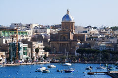 Kalkara and yachts in creek Stock Images
