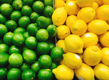 Kalke und Zitronen im Supermarkt Stockbild