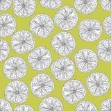 Kalken Sie nahtloses Muster der Scheiben in Schwarzweiss auf Gelbgrünhintergrund lizenzfreie abbildung