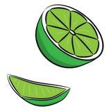 Kalkfruchtsatz, lokalisiert auf weißem Hintergrund Lizenzfreie Stockfotos