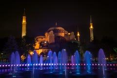kalkon för hagiaistanbul sophia färglinje nattfotografi Royaltyfri Bild