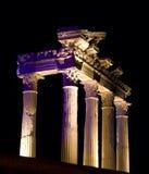 kalkon för tempel för apollo nattsida Arkivbild