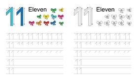 Kalkowania worksheet dla postaci jedenaście ilustracji