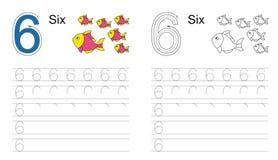 Kalkowania worksheet dla postaci sześć ilustracja wektor