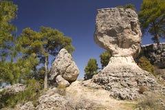 Kalksteenrotsen in cuenca, Spanje Stock Afbeelding