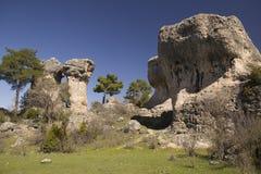 Kalksteenrotsen in cuenca, Spanje Stock Afbeeldingen