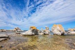 Kalksteenvormingen in Gotland, Zweden royalty-vrije stock afbeelding