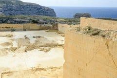 Kalksteinsteinbruchindustrie in Gozo-Insel Lizenzfreie Stockfotos