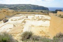 Kalksteinsteinbruchindustrie in Gozo-Insel Lizenzfreies Stockfoto