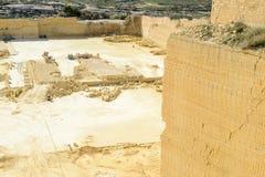 Kalksteinsteinbruchindustrie in Gozo-Insel Lizenzfreies Stockbild