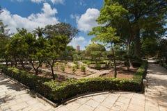Kalksteinweg und -windmühle in den schönen Sommergärten von Palazzo Parisio, Naxxar, Malta, Europa Lizenzfreies Stockfoto