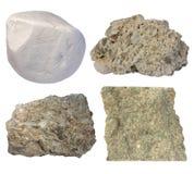 Kalkstencollage (krita, tufaen, fossiliferous kalksten, grainst Arkivbild