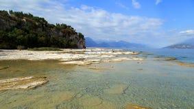 Kalkterrassen von Sirmione. Panorama at the Gardasee in Italy Royalty Free Stock Photo
