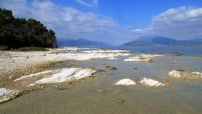Kalkterrassen von Sirmione. Panorama at the Gardasee in Italy Stock Photos
