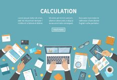 Kalkulacyjny pojęcie Księgowość, rewizja, dane analiza, reportaż, podatek księgowość Ludzie przy pracą Biznesmen ręki na stole ilustracji