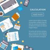 Kalkulacyjny pojęcie Podatek księgowość Pieniężna analiza, ilustracja wektor