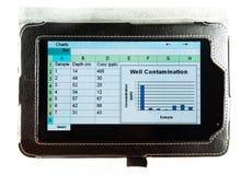 Kalkulationstabelle auf einem sieben-Inch-Tablettecomputer Stockbild