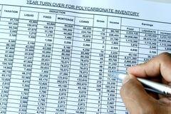 Kalkulationstabelle mit Feder Lizenzfreie Stockfotos