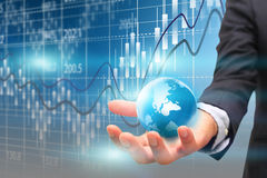 Kalkulationstabellengeschäft um die Welt Lizenzfreies Stockfoto