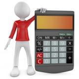 Kalkulator. 3D mały ludzki charakter z kalkulatorem. Fotografia Stock