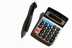 Kalkulator i pióro Obrazy Royalty Free