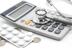 Kalkulator i stetoskop obrazy stock