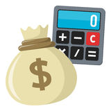 Kalkulator i worek pieniądze mieszkania ikona Zdjęcia Stock