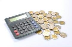 kalkulator monety Obrazy Royalty Free