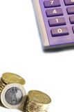 kalkulator monety zdjęcie stock
