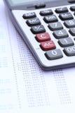 Kalkulator na banka oświadczeniu Obrazy Royalty Free