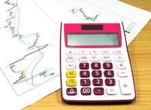 Kalkulator na wekslowym wykresie Fotografia Royalty Free