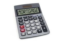 Kalkulator odizolowywający na białym tle z hipoteką zdjęcia royalty free