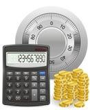 Kalkulator skrytki i złocistych monet pojęcie ilustracja wektor