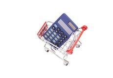 Kalkulator w zakupy tramwaju furze Obraz Royalty Free