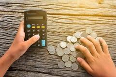 Kalkulator z pieniądze Obraz Royalty Free