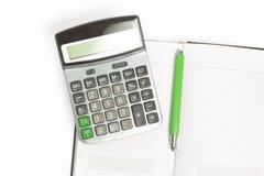 kalkulatora dzienniczka zieleni ołówek Zdjęcia Royalty Free
