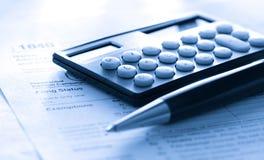 kalkulatora formy pióra podatek obraz stock