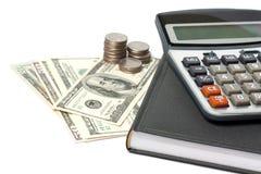 kalkulatora gotówka odizolowywający pióro Fotografia Stock