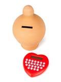 Kalkulatora i serca kształtny pacyfikator fotografia stock