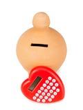 Kalkulatora i serca kształtny pacyfikator obraz stock