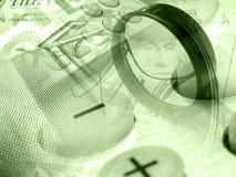 kalkulatora kolażu wykresu magnifier pieniądze Zdjęcia Royalty Free