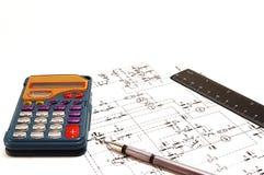 kalkulatora pióra władca Zdjęcia Royalty Free