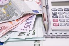 kalkulatora pieniądze pióro Fotografia Stock