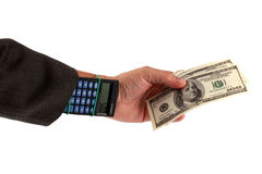 kalkulatora ręki pieniądze Obraz Royalty Free