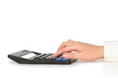 kalkulatora ręki pisać na maszynie Fotografia Stock