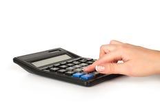 kalkulatora ręki pisać na maszynie Zdjęcia Stock