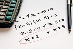 kalkulatora ćwiczenia matematyki pióro Zdjęcia Royalty Free